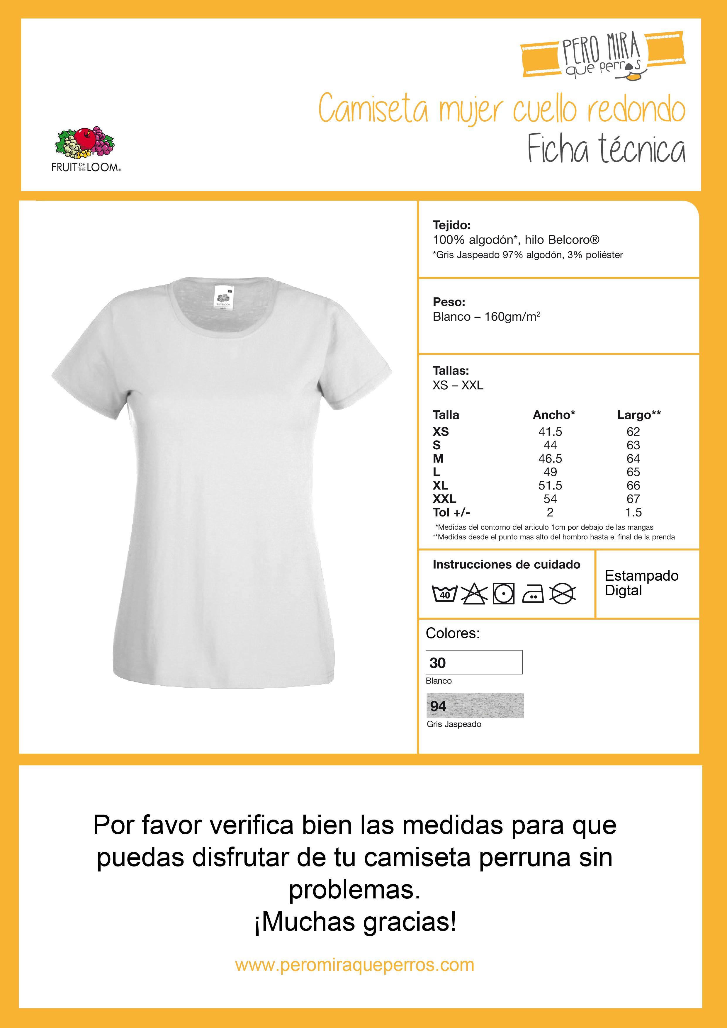 Ficha tecnica camiseta Amor perruno